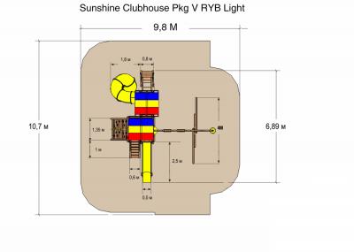 Игровой комплекс Rainbow Саншайн Клубхаус Спиральная горка Лайт Тент (Sunshine Clubhouse Pkg V RYB Light)
