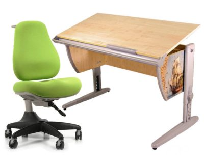 Комплект ДЭМИ Парта СУТ-15P 120х55 см с рисунком с креслом Match Chair и прозрачной накладкой на парту 65х45