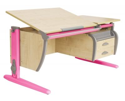 Парта ДЭМИ (Деми) СУТ 17-05Д (парта 120 см+задняя приставка+двухъярусная задняя приставка+боковая приставка+подвесная тумба) c цветом столешницы клен, розовым каркасом