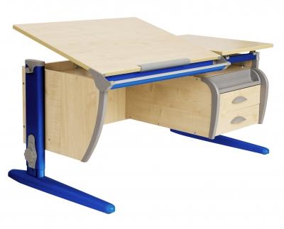 Парта ДЭМИ (Деми) СУТ 17-05Д (парта 120 см+задняя приставка+двухъярусная задняя приставка+боковая приставка+подвесная тумба) c цветом столешницы клен, синим каркасом