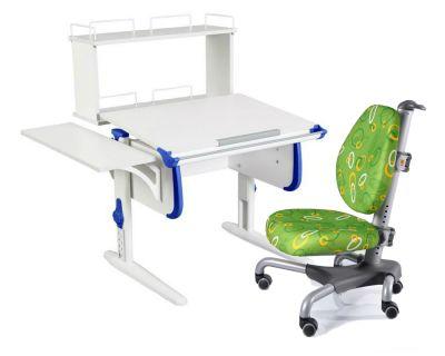 Комплект ДЭМИ Парта WHITE СТАНДАРТ СУТ-24-02Д с креслом Nobel и прозрачной накладкой на парту 65х45