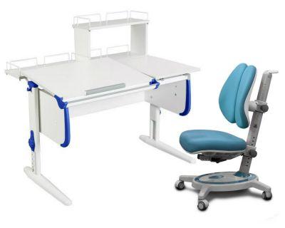 Комплект ДЭМИ Парта СУТ-25-01Д WHITE DOUBLE с раздельной столешницей с креслом Stanford Duo и прозрачной накладкой на парту 65х45