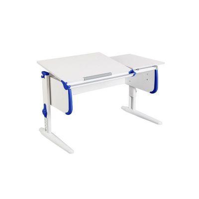 Комплект ДЭМИ Парта СУТ-25 WHITE DOUBLE с раздельной столешницей с креслом Cambridge и прозрачной накладкой на парту 65х45