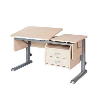 Комплект Астек Парта ТВИН-2 с надстройкой со стулом SK-2 и прозрачной накладкой на парту 65х45