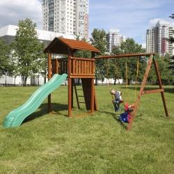 Детский городок Jungle Cottage + SwingModule Xtra + Rock Module