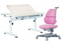 Комплект TCT Nanotec Парта R6-XS с компьютерным креслом Ego (Ergo-Elite) и прозрачной накладкой на парту 65х45