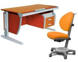 Комплект ДЭМИ Парта СУТ-15-03 120х55 см с креслом Cambridge и прозрачной накладкой на парту 65х45